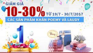 Giảm giá 10 – 30% các sản phẩm khăn Poêmy và Laudy mừng sinh nhật AEON 1 tuổi
